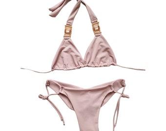 Nude Rose Bikini Top and Bottom - Сrystals-Pool Party Swimwear -Scrunch Bottom- Two Piece Swimsuit-Festival Bikini