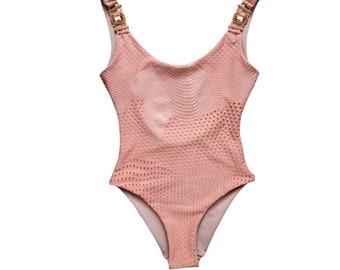 Pink Onepiece Swimsuit - Сrystals-Pool Party Swimwear -  Swimsuit-Festival Bikini