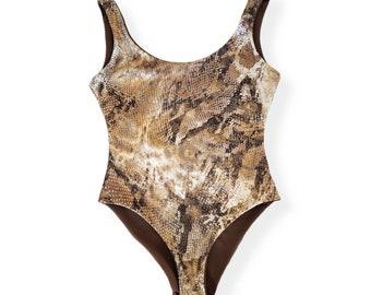 Reversible Brown Onepiece Swimsuit -Pool Party Swimwear -  Swimsuit-Festival Bikini