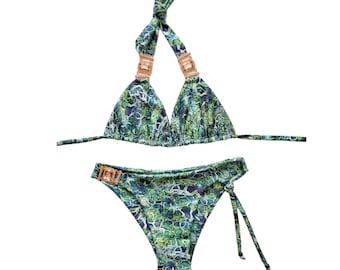 Blue Green Bikini Top and Bottom - Сrystals-Pool Party Swimwear - Two Piece Swimsuit-Festival Bikini