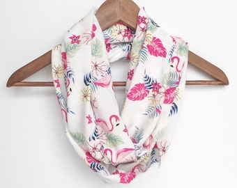 Flamingo Infinity Scarf, Indoor Scarf Necklace, Printed Scarf, Fun Scarf, Tropical Scarf, Colorful scarf, Hot Pink Scarf