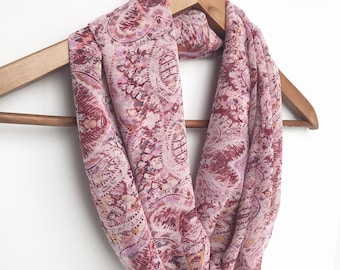 Pink Infinity Scarf, Floral Scarf, Birthday Gift For Mom, Travel Scarf, Indoor Scarf Women Scarf Necklace Lightweight Accessory Ladies Scarf