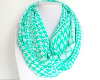 Mint Infinity Scarf, Trendy Infinity Scarf, Houndstooth Scarf, Printed Scarf, Fashion Scarf, Ladies, Summer