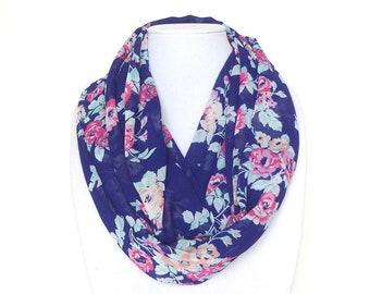 Blue Infinity Scarf, Floral Print Scarf, Travel Scarf, Chiffon Blue Scarf, Lightweight, Birthday Gift for Mom