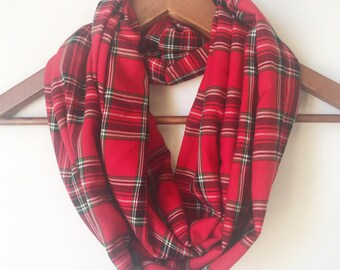 red plaid scarves christmas scarf rayon infinity scarf scarf for women birthday gift for daughter christmas gift festive scottish scarf - Christmas Plaid Scarf