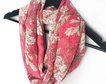 adeea3ed7 Coral Infinity Scarf, Salmon Pink Scarves, Printed Scarf, Floral Scarf,  Spring Scarf, Chiffon Scarf, Lightweight, Gift For Mom