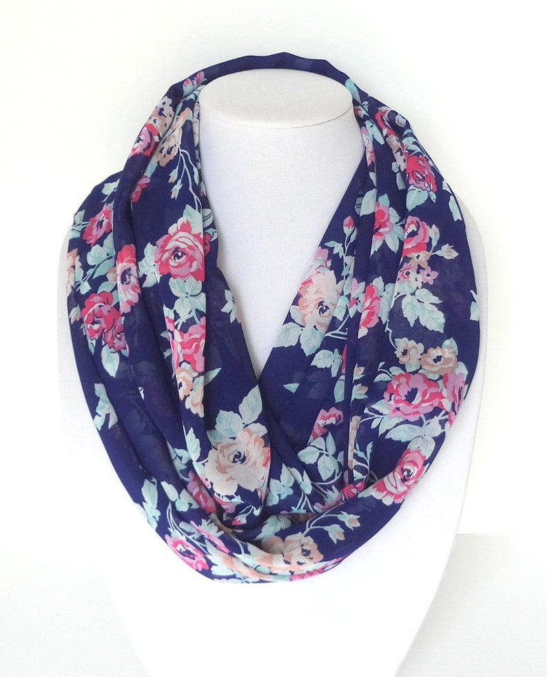 b116bb7eeaf Floral Scarf, Infinity Scarf for Women, Navy Blue Ladies Scarf, Birthday  Gift For Mom Personalized Gift For Her Unique Gift