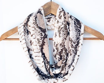 Snake Infinity Scarf, Reptile Scarf, Snake Print Scarf, Gift For Wife, Trendy Fashion, Snakeskin Scarf