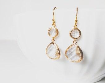 Simple Bridal Earrings, Gold Wedding Earrings, Gold Mint Earrings, Gold drop earrings, Maid Of Honor April Birthstone Earrings Gift