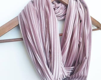 Velvet Scarf For Women, Blush Pink Infinity Scarf, Valentine's Day Gift, Winter Scarf, Trendy Gift, Gift for Daughter, Dusty Pink