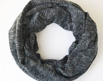 Gray Infinity Scarf for Women, Knit Infinity Scarf, Winter Scarf, Outdoors Scarf, Birthday Gift For Girlfriend, Birthday Gift For Mom