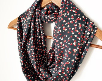 Satin Floral Scarf For Her, Birthday Gift For Mom, Shiny Scarf, Christmas Gift For Wife, Christmas Scarf, Party Scarf, Wedding Scarf