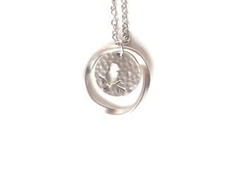 Silver Bird Necklace, Nature Gift, Silver Circle Necklace, Hammered Necklace, Tiny Gold Necklace, Disc Necklace, Nature Necklace, Gardener