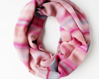 Blush Infinity Scarf, Pink Scarf, Nude Pink Scarf, Dusty Rose Scarf, Nature Scarf, Chiffon, Sunset Scarf, Ocean Waves Blue Infinity Scarf
