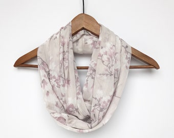 Lavender Infinity Scarf For Women, Purple and Cream Scarf, Lightweight Spring Scarf, Floral, Indoor Scarf, Magnolia Scarf, Pastel Scarf