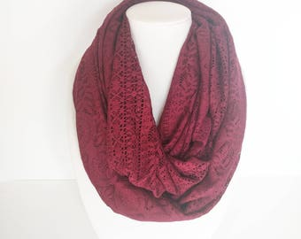Lace Infinity Scarf, Burgundy Scarf, Fall Infinity Scarf, Ladies Scarf, Christmas gift, Gift for daughter