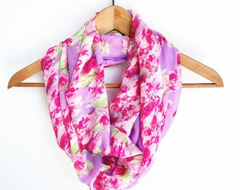 Floral Scarf for Women, Mother's Day Gift For Her, Spring Scarves, Ladies Scarf, Birthday Gift For Mom, Cherry Blossoms Scarf, Hot Pink