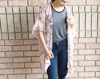 Pale Pink Floral Kimono, Spring Apparel, Lightweight Kimono, Chiffon Kimono, Boho Kimono, Festival Ruana, Pink Coverup