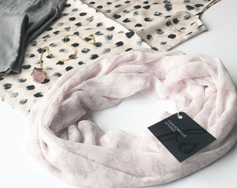 Blush Pink Scarf, Floral Scarf, Spring Scarf, Paisley Scarf, Indoor Scarf, Transitional Scarf, Summer, Mothers Day Gift For Mom