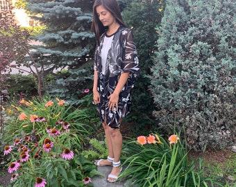 Black Floral Kimono, Black Paisley Kimono Coverup, Summer Kimono, Duster, Women's Fashion, Beach Kimono Boho Print Kimono, Black Coverup