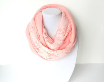 Pink Lace scarf, Pink Infinity Scarf, Bubblegum Pink scarf, Spring Scarf, Gift For Her, Valentine's Day Gift
