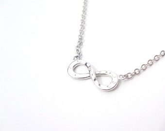 Silver Infinity Necklace, Hammered Infinity Necklace, Simple Necklace, Bridesmaid Gift, Birthday Gift