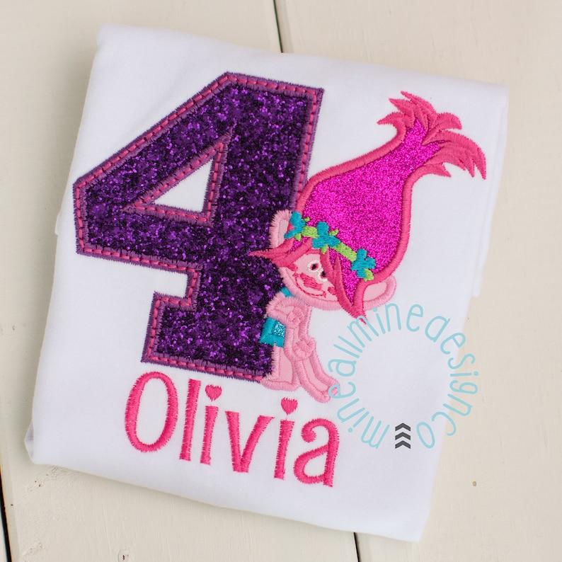 Troll Hair Shirt Applique Embroidered Troll Shirt Girls or Boys Trolls Inspired Personalized Birthday Tee Shirt Poppy Troll Shirt