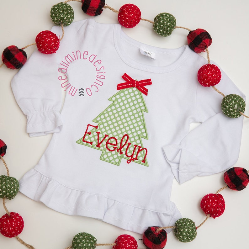 Christmas Tree Personalized Applique Shirt for Girls Holiday image 0