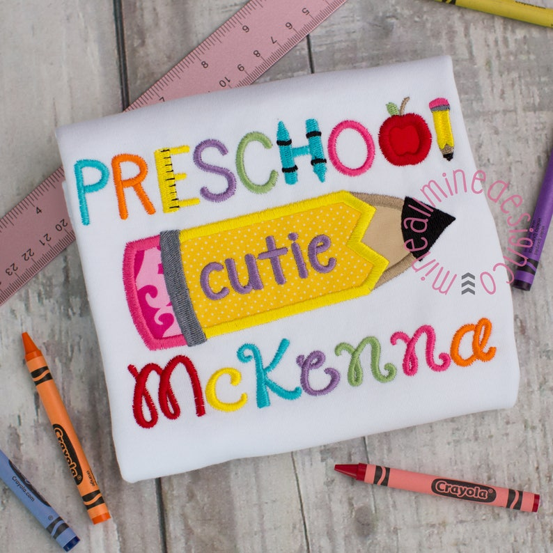 Personalized Applique Back to School Tee Shirt Preschool image 0