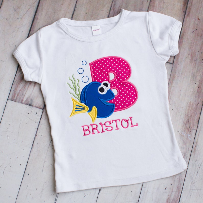 First Birthday Shirt Second Birthday Girls or Boys Dory Inspired Applique Embroidered Personalized Tee Shirt Finding Dory Age Shirt