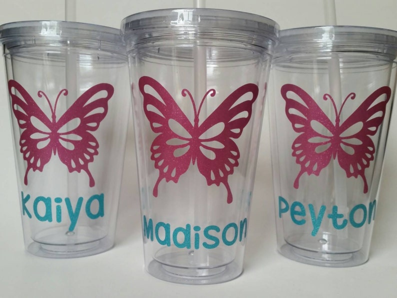 8ca37f45924 Personalized Tumbler with Straw Butterfly Glitter | Etsy