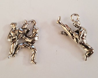 2 Antique Silver Pewter Charms - Tae Kwon Do, TKD, Martial Arts,