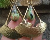 Hammered Bronze Porcelain Bronzy Mixed Melon Glaze Beads Earrings Riveted Pendulum-Fan Earrings Bronze Blade Ceramic Beads Unique Earrings