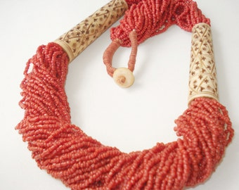 Tibetan Necklace-Handcarved Bovine Bone-40 Strands Coral Beads-Himalaya Necklace-Wrapped Linen Cord -Coral Seeds-Statement necklace