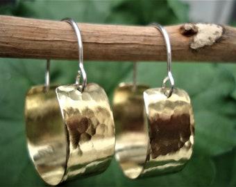 Hammered Bronze Small Hoop Earrings Contemporary Handcrafted Hoops Modern Minimalist Bronze Metalwork Earrings Unique Sterling Silver Hoops