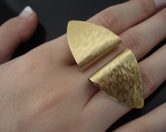 Three Fingers Hammered Bronze Ring Geometric Adjustable Big Ring Contemporary Fold Formed Statement Brass Ring Modern Unique Ring