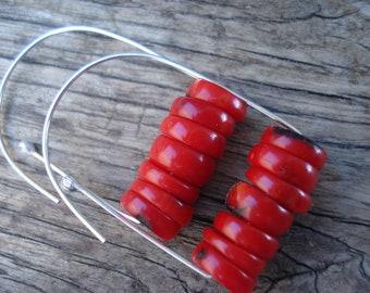 Sterling Silver Red Coral Hoop Earrings Modern Minimalist Silver  Coral Hoops Delicate Silver Earrings Sterling Silver Earrings Beaded Hoops