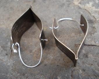 Hammered Silver Oxidized Hoop Earrings Modern Sterling Silver Hoops Contemporary Metalwork Silver Hoop Unique Fold Formed Hoop Earrings
