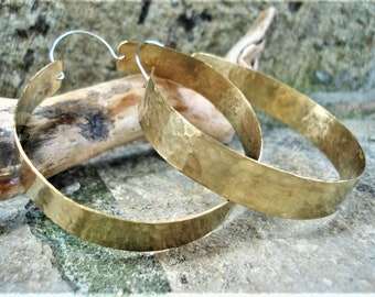 Hammered Bronze Big Hoop Earrings Contemporary Handcrafted Hoops  Modern Minimalist Bronze Metalwork Hoop Earrings  Unique Large Hoops
