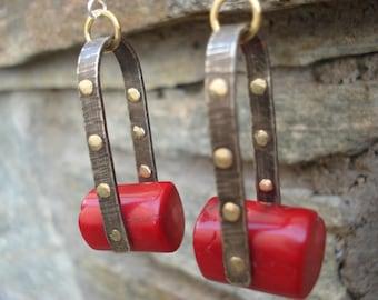 Red Coral Hoop Earrings Hammered Silver Bronze Riveted Mixed Metal Hoops Modern Boho Sterling Silver Hoops Unique Metalwork Red Earrings