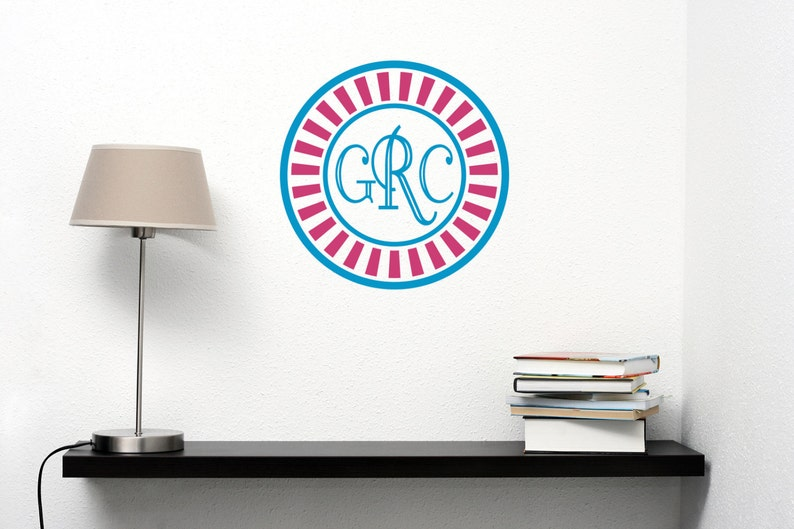 Monogram Initials With Border Wall Decal-Removable Wall Art image 0