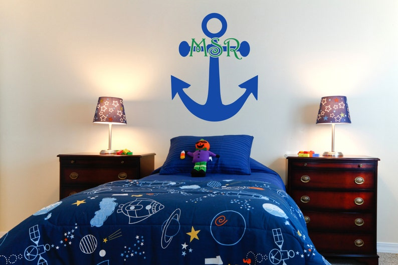 Anchor Monogram Initials Vinyl Wall Decal-Removable Wall Art image 0