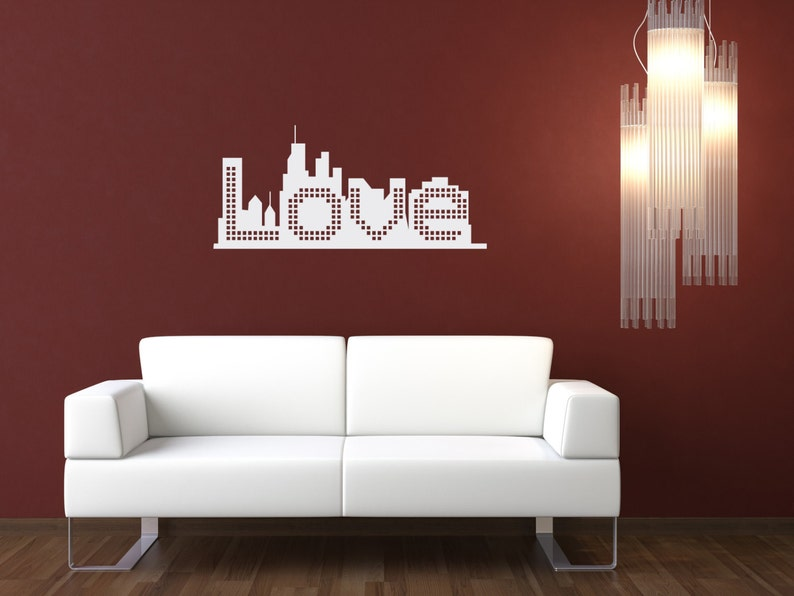 Skyline Of Love Wall Decal-Removable Wall Art Sticker-Multiple image 0