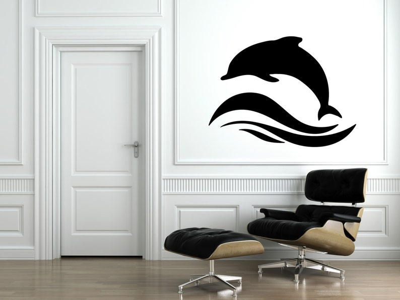 Jumping Dolphin Wall Decal-Removable Wall Art Sticker-Multiple image 0