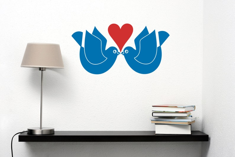 Kissing Love Birds Wall Decal-Removable Wall Art image 0