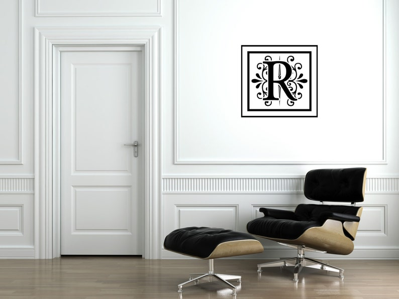 Monogram Initial Square Wall Decal-Removable Wall Art image 0