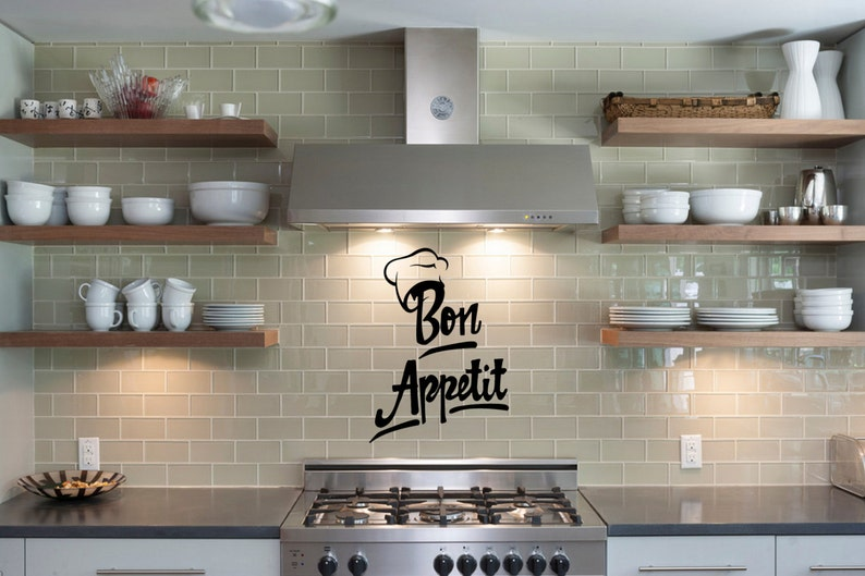 FREE SHIPPING Kitchen Wall Decal  Bon Appetit Chef Hat  image 0