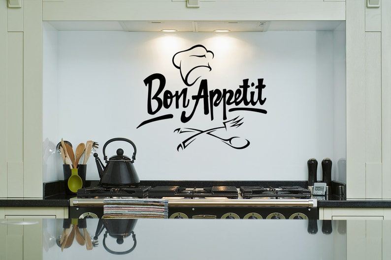 Kitchen Wall Decal  Bon Appetit Chef Hat  Removable Wall Art image 0