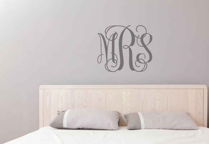 Offering Rose Gold Monogram Wall Decal Initial Wall Decal image 0