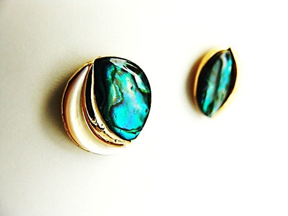 Abalone Disc Earrings - Vintage/Estate Item with … - image 4